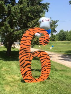 For my sons 6th birthday - my husband spray painted the 6 for the Detroit Tigers party!