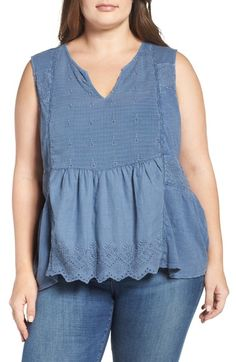 Lucky Brand Mixed Media Split Neck Tank (Plus Size) available at #Nordstrom