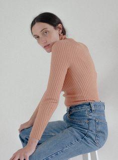 Giu Giu Nonna Turtleneck - Bandaid on Garmentory Joo Joo, Ribbed Turtleneck, Band Aid, Fabric Material, Snug Fit, Knitwear, Turtle Neck, Boutique, Sweaters