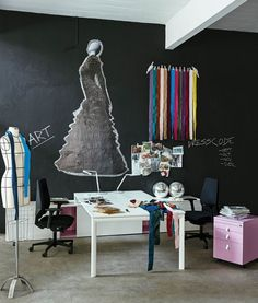 Office & Workspace:Drop Dead Gorgeous Black Wall Fashion Workspace Design With White Work Desk Table And Black Swivel Arm Chairs And Light Brown Carpets With Pink Folding Cabinets With Shine Disco Lamp And White Low Cabinets Virtuosity Henrique Steyer: Fantastic Contemporary Workspace designs