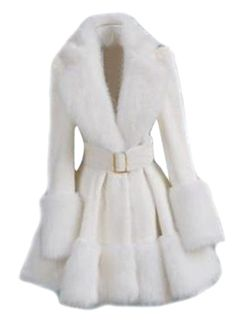 Choies White Lapel Long Sleeve With Belt Pouf Coat Lila Outfits, Winter Fashion Outfits, Classy Outfits, Cool Outfits, Fashion Dresses, White Fur Coat, Jugend Mode Outfits, Mode Mantel, Cute Coats