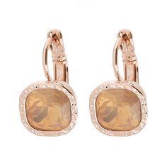 Ohrringe ROSEGOLD - hängend mit Schmuckstein in GRAU ❤ Quadratische Ohrhänger ✓ mit hochwertigem Brisurverschluss ✓ verschiedene Farben. Jetzt ansehen! rose gold earrings yellow orange honey
