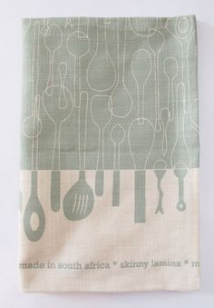 Tea towel Borrowed Spoons in stainless steel by skinnylaminx, $18.00