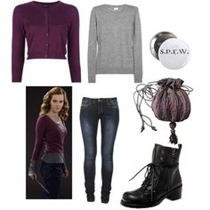 Inspired by Hermione Granger in Deathly Hallows Black boots, grey shirt, purple sweater, and skinny jeans. Pretty sure these are all already in my closet in come form.