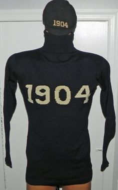 1904 Yale University Turtleneck Football Sweater with Accompanying and Matching 1904 Cap.
