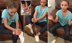 Michele O'Neal from Florida has shared a video of a girl, believed to be her daughter, escaping zip ties  using just her shoe laces to Facebook where it has been viewed 59 million times.
