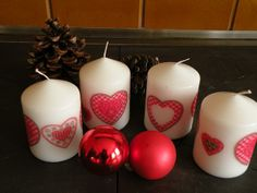 Decoupage chrismas candles