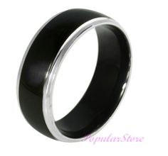Black Titanium Ring Wedding Bands Couple Rings by PopularStore, $19.59