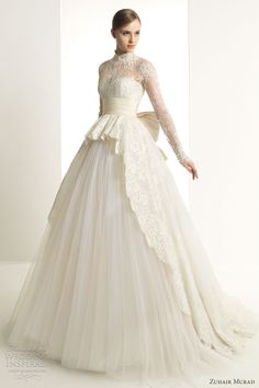 2013 ballgown dresses | ... murad 2013 bridal katrina wedding dress long sleeves lace ball gown