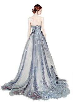 fashion illustration silver gown