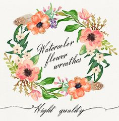 6 Watercolor flower wreathes by GraphicSafari on Etsy