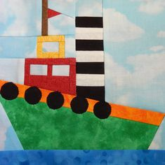 Tugboat paper pieced PDF pattern boy quilt by MsPDesignsUSA