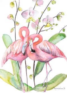 Two Flamingos in Love by VBoyadzhieva.deviantart.com on @DeviantArt