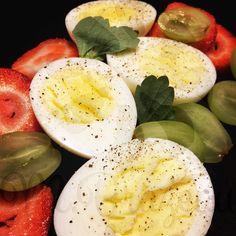 Boiled eggs and fruit for breakfast!