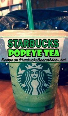 Need a boost of energy? Try Starbucks Popeye Tea! #StarbucksSecretMenu A venti is only 50 calories! Recipe here: http://starbuckssecretmenu.net/popeye-tea-starbucks-secret-menu/