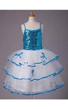 Ball Gown Spaghetti Straps Knee-length Sequined Organza And Satin Flower Girl Dress