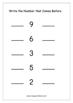 Math Worksheet - What Comes Before And After