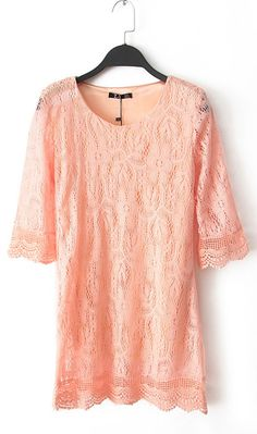 Three quarter sleeve hollow dress WQZ9370 Orange