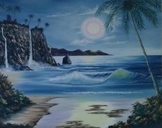 John LaCroix - 'Hawaiian Moonlight Double waterfall' - Oil paintingSTRK:MESELX:IT&_trksid=p3984.m1555.l2649 Open Art, Canvas Size, Moonlight, Hawaiian, Waterfall, Waves, Oil, Artwork, Painting