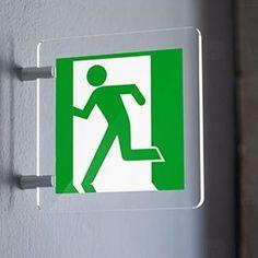 Segnaletica di sicurezza con simbolo omino uscita di emergenza. Letters, Logos, Logo, Letter, Lettering, Calligraphy