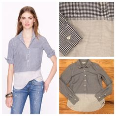 J. Crew Gingham Stripe Popover J. Crew Gingham Stripe Popover. Size 6. In perfect condition. Feel free to ask me any questions in the comments or make me an offer! J. Crew Tops Button Down Shirts
