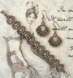 Linda's Crafty Inspirations: Peyote Fan Earrings - Light Amethyst & Pewter 7/30/15