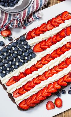 Flag Brownies make a patriotic dessert for the of July. : Flag Brownies make a patriotic dessert for the of July. Patriotic Desserts, Blue Desserts, 4th Of July Desserts, Fourth Of July Food, 4th Of July Celebration, 4th Of July Party, Holiday Desserts, Holiday Treats, Holiday Recipes