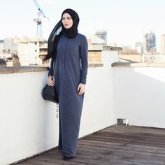 INAYAH | Blue Textured Fall #Abaya + Black Maxi Georgette #Hijab www.inayahcollection.com #modestwinterfashion#modestwinterstyle#wintermididresses#modestwinterdresses