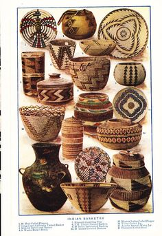 Native American baskets tribal natural patterns