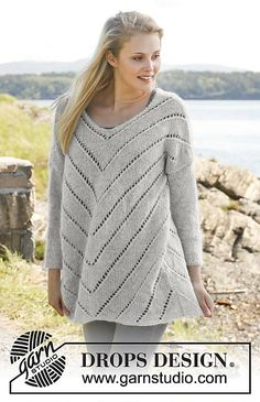 Ravelry: 149-3 Eva Sweater - Jumper with lace pattern and ¾ sleeves in Alpaca and Kid-Silk pattern by DROPS design