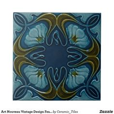"Blue and Green Flowers Art Nouveau Vintage ceramic tiles reproduced in either 4.25"" or 6"" sizes, great for DIY Kitchens, Backsplashes, fireplace surrounds, and bathrooms, with lots of designs and colors available in my zazzle store."
