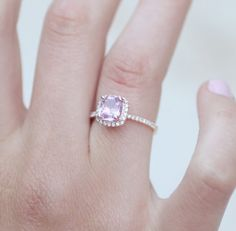1.631ct Square Cushion Peach Pink Champagne Sapphire 14k rose gold diamond  Engagement Ring
