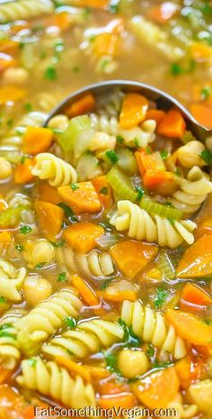 This Vegan Chicken Noodle Soup is chunky, flavorful, and easy to make. Made with chickpeas instead of chicken, it's packed with healthy ingredients and is the perfect comfort food.