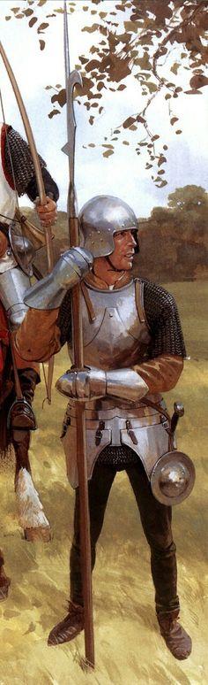 Landsknecht, 15. Jahrhundert, Übergang vom Ritterheer zum Söldnerheer, daher auch kein kompletter Plattenpanzer, vermutlich um Kosten zu sparen oder wegen Passung erbeuteter Stücke. (Vgl. Kriege zwischen Schweiz und Österreich, in denen Schweizer Infanterie bald erbeutete Teile der Rüstungen österreichischer Ritter tragen)