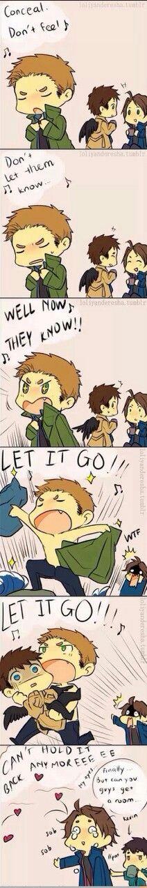 let it go destiel cas' face when dean grabs him <3