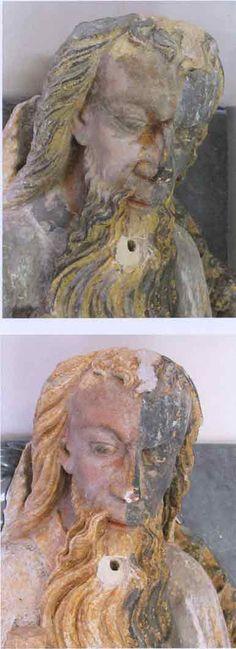 Fig.7 Dernière étape du dégagement des repeints du visage de Dieu. En haut : en cour de dégagement du voile grisâtre. En bas : après mi-dégagement.  Crédit : M. Oiry©