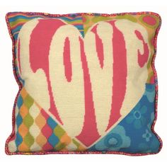 This tapestry design from the Anchor Living range features the word love in a heart shape with brightly coloured sixties patterned background.