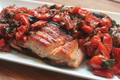 Cherry tomato kale balsamic grilled salmon  Healthy kosher fish recipe!