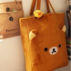 Rilakkuma San-X Brown Handbag Bag Shopping Bag with Yellow Chicken Rilakkuma, Cheap Cosplay Wigs, Yellow Handbag, Latest Bags, Kawaii Plush, Cute Backpacks, Travel Bag, Purses And Handbags, Fashion Bags