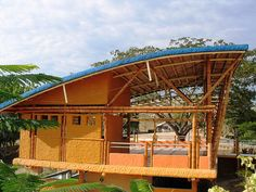 Bamboo for a sustainable quarter in Bogota, Colombia Bamboo Structure, Timber Structure, Shade Structure, Timber Architecture, Tropical Architecture, Architecture Details, Bamboo Roof, Bamboo House, Bamboo Building