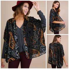 f31d2e46dd1cd UMGEE Boho Lux Black Gold Velvet Burnout Paisley Open Front Kimono Cardigan  S-L