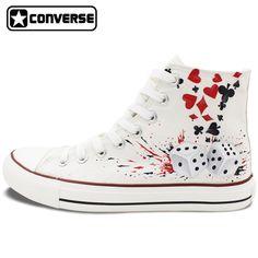 5764778b6299 Diseño personalizado zapatillas converse all star poker dados zapatos de  lona pintados a mano zapatillas blancas