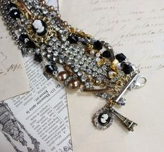 Paris Luxe- Vintage Refashioned Upcycled Repurposed Multi-Layer Bracelet- Silver, Gold, Black- Rhinestones and Cameos- One of a Kind