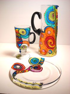 5 Piece Beverage Serving Set, Painted Glassware Hand Painted Pitcher, Painted Mugs  Painted Plates,. $190.00, via Etsy.