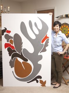 This is a 6 foot painting hand-painted for a client's living room by Yen Azzaro. Photo: www.chin-azzaro.com