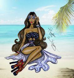 Hayden Williams Fashion Illustrations: 'Beach Please' by Hayden Williams