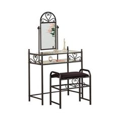 Coaster Frosted Black Wrought Iron Makeup Vanity Table Set with Mirror in Black…