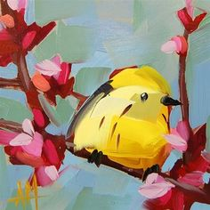 "Daily+Paintworks+-+""Yellow+Warbler+no.+44+Painting""+-+Original+Fine+Art+for+Sale+-+©+Angela+Moulton"