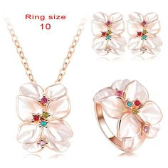 HOT Sale Jewelry Set Flower Designe Crystal Enamel Earring/Necklace/Ring