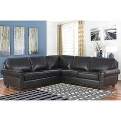 Delmar Top Grain Leather Sectional Living Room Set Top Grain Leather Dark  Espresso Sectional By Abbyson